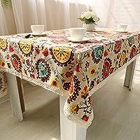 XUANHU テーブルクロス ナショナルスタイルの長方形のテーブルクロス、抗菌コットンリネンのテーブルクロステーブルカバーキッチン、ダイニングルーム、中庭、カフェ、パーティー、またはピクニックのための褪色防止およびしわ防止ピアノダストクロスの家の装飾(1 *テーブルクロス) (Size : 6060cm)