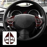 AIRSPEED Carbon Fiber Car Steering Wheel Button Sticker Interior Trim Decal Accessories for Mitsubishi Lancer 2008-2015 (Blac