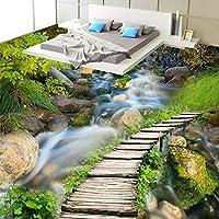 Xbwy 3D中国の古典的な木製の橋ストリーム写真壁画の壁紙3Dの床タイルキッチンバスルームビニール壁画-120X100Cm