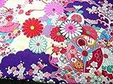 ちりめん生地・和布・古布・はぎれ◆大正ロマンの大柄な花柄 紫 YS04-02(10cm)