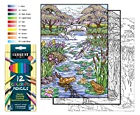 Color By Number Poster Set - Pond Life - Includes 12 Coloring Pencils [並行輸入品]