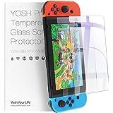 2枚入り Nintendo Switch 保護フィルム YOSH 除菌アルコールシート付き ガラスフィルム ブルーライト95%カット 硬度9H 高透過率0.26mm 飛散防止 指紋防止 気泡ゼロ ニンテンドー スイッチ 液晶 画面 保護 シート 2枚