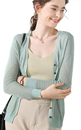 Achruor レディース カーディガン カットソー Vネック UVカット ニット薄い 羽織り 長袖 冷房対策 上品 紫外線対策 日焼け防止 8色展開