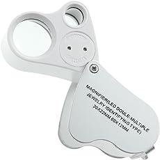 Phoenix LED 2種類レンズ付 携帯ルーペ 30倍 60倍 収納式 コンパクト スマート ジュエリー鑑定 校閲用 長期保証書付き