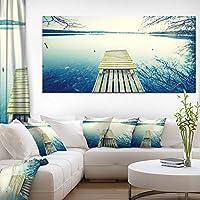 "DesignArt pt14870–32–16Sunset Over Tranquil湖キャンバス壁アートワーク 60x28"" ブルー PT14870-60-28"