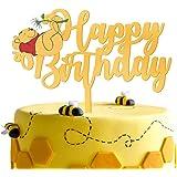 LILIPARTY Gold Acrylic Winnie Happy Birthday Cake Topper Winnie The Pooh Theme Birthday Party Suppliers Disney Cartoon Figure
