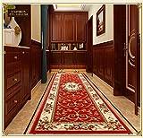 ペルシャン柄高級階段マット 絨毯 廊下 長方形 廊下敷きサイズ ランナーマット ペルシャデザイン (90cm×180cm, 6744R)