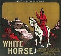 ホワイトHorseオレンジラベル 24 x 36 Giclee Print LANT-1727-24x36