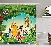 動物園のシャワーカーテンによる、異なる動物との森の風景生息地ジャングル熱帯環境キッズ漫画、フック付き布製バスルームの装飾セット、84インチエクストラロング、多色