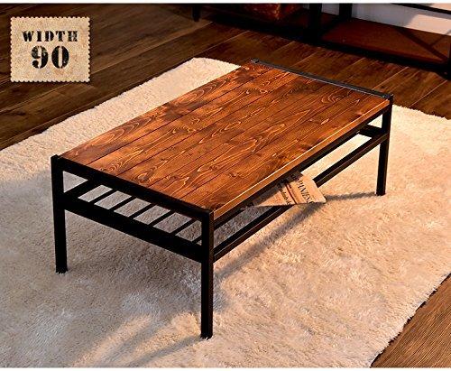タンスのゲン テーブル 棚付き 幅90 天然木 長方形 センターテーブル 北欧 B074KXQLFS 1枚目
