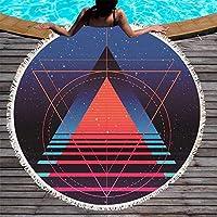 Ta-weo ラウンドマット150センチ幾何学的なラウンドビーチタオルタッセルヨガピクニックマット付き星空マイクロファイバー毛布 (Color : 1, Size : 150CM)