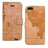 iPhone 5S/5 ケース 保護シール付 2014 年 モデル 手帳 型 ブック タイプ 横開き カード ホルダー 定期入れ パスケース スタンド PU レザー 皮 クラッシック アンティーク 大航海 地図 柄 A iphone 5 5s case アイホン5 5s ケース カバー (TY019) (ブラウン)