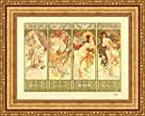 (v12–08–09) Alphonse Mucha Les Saisons_フレーム_キャンバス_ Giclee_プリント_ w28.5_ X h22 >[Small] #11-Gold V12-08K-MD535-01