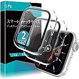 LϟK 2枚入り Apple Watch 40mm Series 6/5/4/Apple Watch SE 用 ケース ガラスフィルム 一体型 日本旭硝子材 耐衝撃PCフレーム 3D全面保護 99%高透過率 貼り付け簡単 アップルウォッチ 40mm