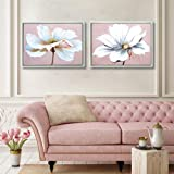 Large Modern Framed Wall Art Decor Flower Canvas Print Painting Picture Hand Painted Texture Living Room Bedroom Bathroom Gir