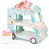 Aooba 3 Tier Ice Cream Van Cupcake Stand Cake Holder for Birthday Barbecue Picnic Weddings Afternoon Tea Summer Theme Party D