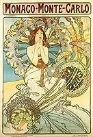 絵画風 壁紙ポスター (はがせるシール式) アルフォンス・ミュシャ モナコ・モンテカルロ (P.L.M鉄道のポスター) 1897年 アールヌーヴォー キャラクロ K-MCH-050S1 (576mm×850mm) 建築用壁紙+耐候性塗料