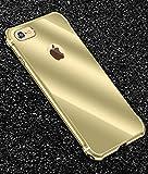 iPhone 6 / 6s メタルバンパー、Uniqe 高品質アルミ製フレーム+バックプレート スクラッチ保護 オシャレデザイン 最高レベル耐衝撃 ケース (iPhone 6/6s, ゴールデン)
