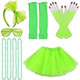 Jerbro 80s Costume Accessories for Girls, Skirt Leg Warmers Fishnet Gloves Bracelet Necklace Shutter Glass