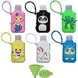 Crenics 6 Pack Cartoon Animal Plastic Travel Bottles, 60ml/2oz Removable Cute Silicone Holder Keychain Bottles, TSA Approved