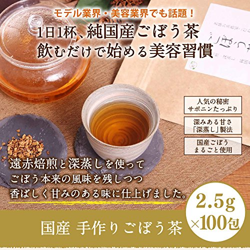 国産 手作り ごぼう茶 2.5g × 100包 ( 50包 x 2袋 ) 【 無農薬 ティーバッグ 深蒸し 遠赤焙煎 】