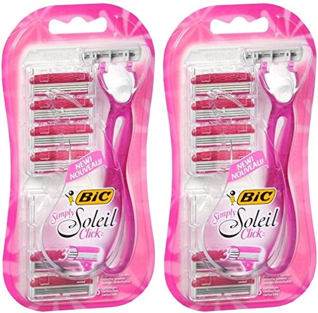 いとこコマンド実業家BIC 単にソレイユクリック - 女性のための使い捨てカミソリ - 1カウントハンドル&パッケージごとに6つのカウントカートリッジ - 2つのパッケージのパック