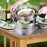3 Tier Stainless Steel Steamer Meat Vegetable Cooking Steam Hot Pot Kitchen Tool