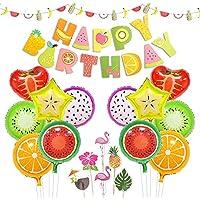 ハワイアンパーティー 飾り セット 果物 フルーツ パーティー happy birthday ガーランド カラフル ホイル バルーン 風船 ケーキトッパー 誕生日 夏祭り プールパーティー 水遊び 38枚セット