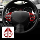 AIRSPEED Carbon Fiber Car Steering Wheel Button Sticker Interior Trim Decal Accessories for Mitsubishi Lancer 2008-2015 (Red)