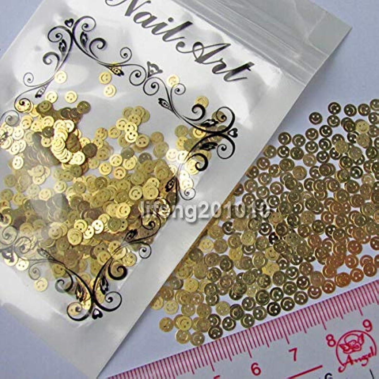 パーフェルビッド母音くつろぐFidgetGear ネイルアートの美用具のための金色のスマイリーの金属のステッカーの先端の装飾