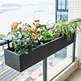 Hanging Flower Planter, Balcony Railing Flower Pot Rack, Hangable Plant Stand with Fully Closed Bottom, for Planted in Pots/S