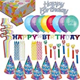 Birthday Party Accessories and Decorations - Hats Blowouts Candles Cake Toppers Candles Birthday Banner Happy Birthday Table Cover Balloons Squiggle Straws [並行輸入品]