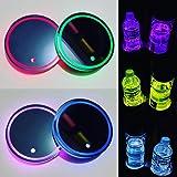 2PCS LED Car Cup Holder Lights Up Coaster, 7 Colors Light Up Cup Holders for Your Car, Light Up Car Coasters for Cup Holders,