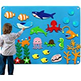 Kids Flannel Felt Board Story Sets for Toddler Preschool with Under The Sea World Animals Shark Figures Large Wall Hang Inter