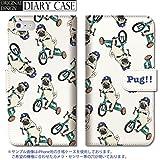 301-sanmaruichi- iPhone8 手帳型ケース iPhone8 ケース 手帳型 おしゃれ PUG!! パグ 犬 dog 三輪車 パグ 手帳ケース