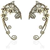 Elven Ear Cuffs for Women, Handmade Elf Fairy Earrings Cuff Wrap Clip-on Filigree Earrings for Fantasy Fairy Halloween Costum