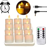 Rechargeable LED Battery Operated Tea Lights, Realistic and Bright Flickering Flameless Tealights with Moving Wick, Remote Co