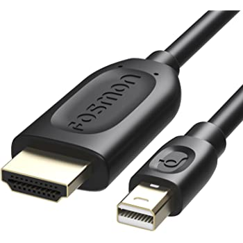 Fosmon Mini DisplayPort - HDMI 変換 ケーブル (1080P, 1.8m (ブラック))