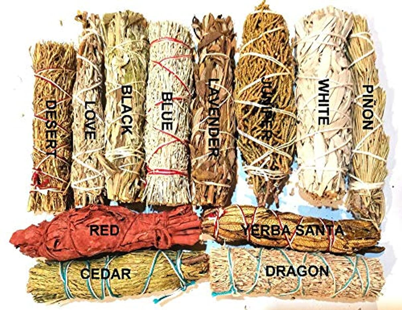 海洋観光に行く木材瞑想用具セット セージ スマッジスティック サンプラー ブルー ホワイト ブラック ジュニパー シダー ラベンダー 24個セット