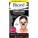 Biore Charcoal, Deep Cleansing Pore Strips for Blackhead Removal on Oily Skin, with Instant Blackhead Removal and Pore Unclog