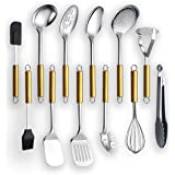 Kyraton Stainless Steel Cooking Utensil Sets 12 Pieces, Gold Handle Kitchen Utensil Set Kitchen Tool Set Include Cooking Spoo