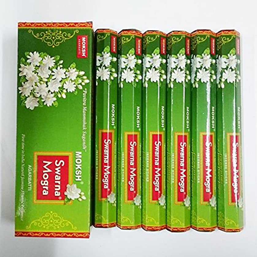 いま省略勢いMoksh (モクシャ) インセンス スティック へキサパック スワルナ モグラ(インドジャスミン)香 6角(20本入)×6箱 [並行輸入品]Swarna Mogra