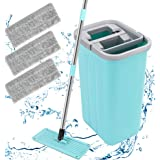 Floor Wizard mop and Bucket, Flat Squeeze mop and Bucket,2 Types Washable & Reusable Microfiber Mop Pads Included - Wet or Dr