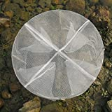 Do mo 円形 漁具 魚捕り網かご 4穴 折り畳み式 ウナギ アナゴ タコ エビ カニ 小魚 などを一網打尽 魚かご 仕掛け (1 個)