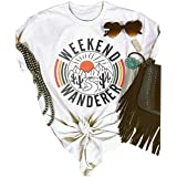 FENKAY Weekend Wanderer Cactus T-Shirt for Women Casual Letters Print Graphic Tees Tops