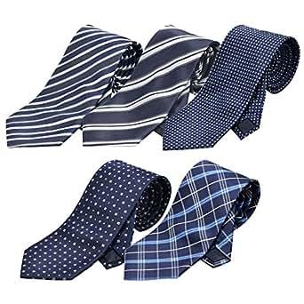 (ランスコ) LANSCO.VI. 全16パターン 洗濯 出来る ポリ ウォッシャブル ネクタイ 5本 セット ビジネス 無地 ストライプ 小紋 チェック ドット 柄 ビジネス 01