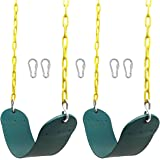 """Juegoal Heavy Duty Swings Seats Playground Swing Set Accessories Replacement with 66"""" Plastic Coated Chain and Snap Hooks, Gr"""