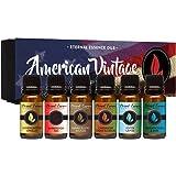 American Vintage - Gift Set of 6 Premium Fragrance Oils - Sandalwood Vanilla, Frankincense & Rain, Cardamom Cedar Blossom, As
