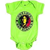 Bob Marley Catch A Fire One Love Heart Creepr Lime Onesie