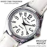 [ソリッド]solid 大人可愛いレディース腕時計 ラウンドフェイス クロコ型押し ホワイト 白色 ウォッチ 女性へのプレゼント